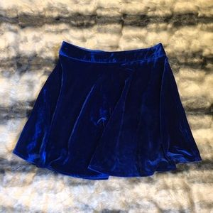 Velvet Royal Blue Skater Skirt /Medium